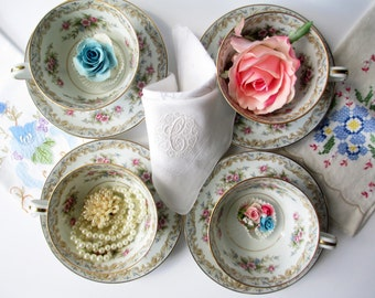 Vintage Noritake Teacups and Saucers Somerset Blue Pink Floral Set of Four