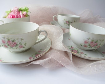 Teacups and Saucers Epiag Royal Pink Rose Set of Four - Vintage Charm