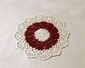 Red Hearts Crochet Lace Doily, Valentine Day Decor, Burgundy, Ecru, New