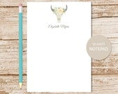 personalized skull note pad  . floral desert steer . personalized notepad . watercolor bull skull . personalized stationery . stationary