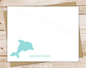 PRINTABLE personalized note cards . notecards . dolphin . personalized stationery . FLAT stationary . dolphin notecards . You Print