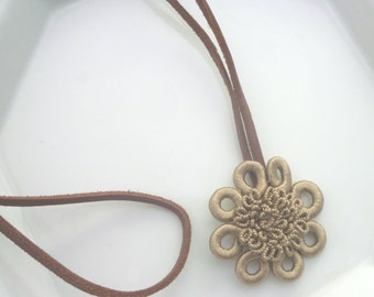 Moroccan necklace, bronze art silk, leather, boho necklace, flower necklace