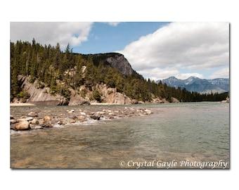 Bow River Photography Print, Canadian Landscape, Blue Lake House Art, Green Mountain Lodge Wall Decor, Woodland Nursery, Spa Decoration