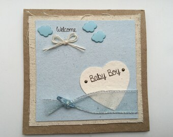Welcome Baby Boy Card - Baby Boy Card - Congratulations Card - Handcrafted Card - New Parents card