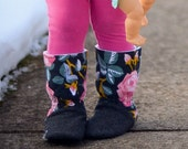 Baby Girl Boots - Baby Girl Slippers - Leather Soft Soles - Floral Fabric