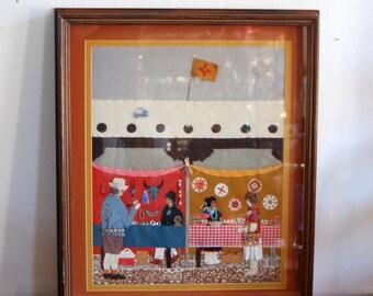 "Fabulous Folk Art fabric applique Painting by New Mexico Artist Sylvia Martinez - Johnson "" Indian Market"" 1987 ~ Wonderful Detail"