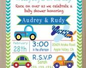 Little Traveler Set of 10 Printed Baby Shower or Birthday Invitations, Car, Train, Plane, Truck
