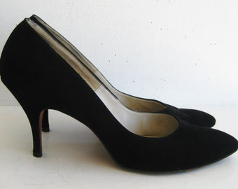 Vintage 50s 60s MAD MEN Black Suede Pointy Toe Stiletto High Heel Shoes 8 - 8.5