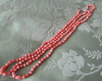 Salmon coral  long necklace