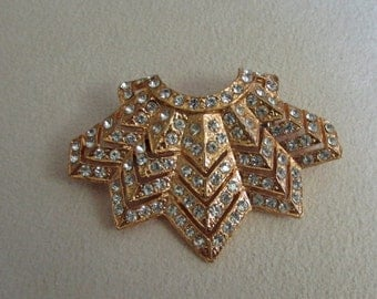 Brooch, gold plated with Swarovski crystals