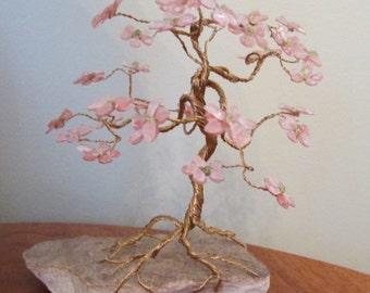 Gemstone tree made with rose quartz and peridot