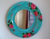 Shabby chic mirror, hand painted, distressed, old country roses, floral wall decor, round mirror, bohemian decor, bedroom mirror, rose