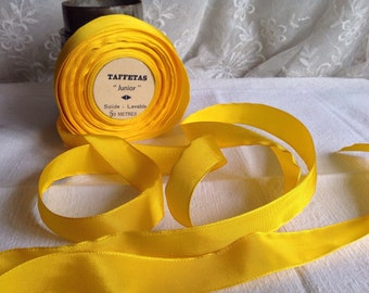 Antique Tape Ribbon, Yellow Grosgrain Taffeta French Trim  / Millinery Ballet & Dolls 5 yards