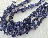Brand New, Full 8 Inch Long Strand, Natural WATER SAPPHIRE Iolite Faceted Pear Shape Briolettes,7-10mm Size