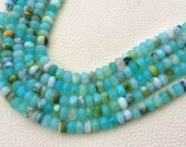 Promotional Price,7mm Size,Brand New, Full 8 Inch Strands,Peruvian Blue Opal Faceted Rondelles Beads, Amazing Item at Low Price