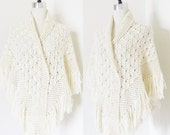 "Vintage 1960's Creme Knit Shawl Shoulder Wrap / Poncho Style ""Granny's Shawl"" Fringed Edging One Size Fit All"