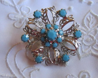 Vintage Silver Tone Delicate Openwork Brooch with Faux Glass Turquoise Stones