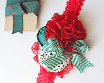 Reindeer Games red, green white and black polka dot rosette burlap and chiffon headband