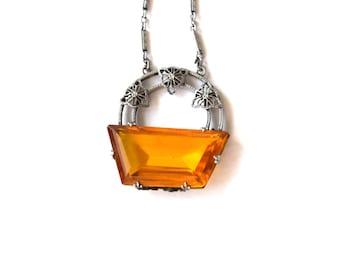 Antique Art Deco Filigree Glass Necklace c.1920s