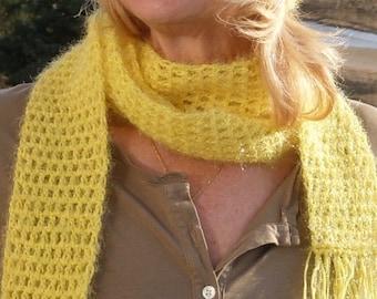 Women's fashion yellow hat scarf set women's crochet hat scarf