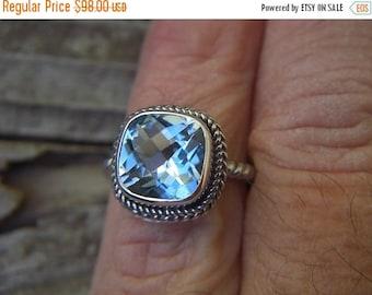 ON SALE Beautiful sky blue topaz ring in sterling silver