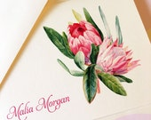 Floral Note Cards, Protea, Custom Stationery, Personalized, Set of 6