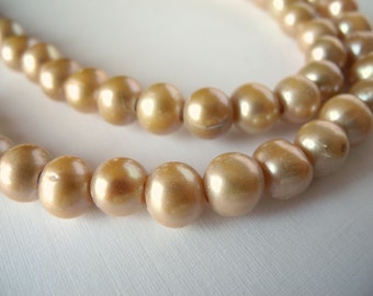 Large Hole Pearls Freshwater Pearls Champagne Tan Light Brown  9mm 26 Pieces
