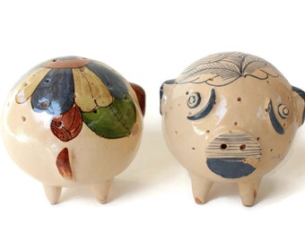 Roly Poly Mexican Pottery Pigs - Folk Art Sculptures - Tlaquepaque Hors D'Oeuvres Pick Holders