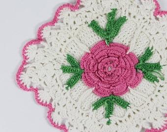 Vintage Potholder -Large Crocheted -  Pink Rose & White -Vintage 1950s- Cotton