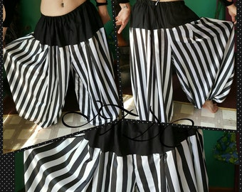 4 yard 1 inch Black and White with Yolk Striped Cotton Pantaloons