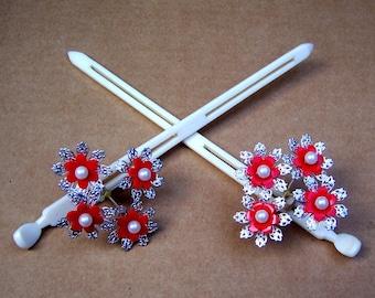 Vintage Japanese kanzashi hairpin set geisha hair pin hair pick hair fork hair comb headpiece headdress (AAI)
