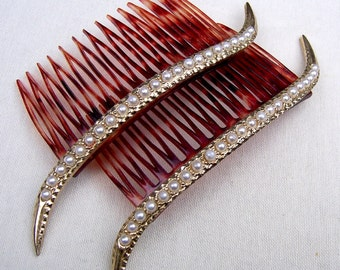Rhinestone hair accessories 2 hair combs Hollywood Regency matched pair hair jewelry hair ornament decorative comb hair slide