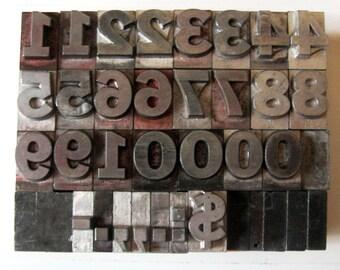 Vintage Metal Letterpress Med Lg Number Set Complete