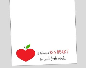 Big Heart Apple Notepad ~ Teacher Gift ~ Inexpensive Quick Ship