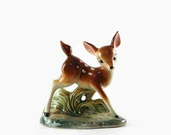 Vintage Ceramic Deer Figurine, Bambi Fawn Statue, Made in Japan, Mid Century Decor