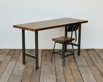 Reclaimed wood desk with modern square steel legs in choice of sizes or finishes