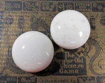 Porcelain Knobs Small VINTAGE Antique White Two (2) NOS Porcelain Knobs No Metal Salvage Vintage Antique Restoration Supplies (L152)