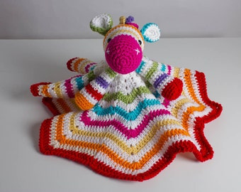 Zebra Lovey, Security Blanket, Crochet Zebra Lovey, Baby Blanket, Rainbow Zebra Lovey