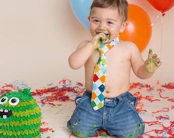 1st Birthday Boys, Cake Smash Outfit Boy, Boys Argyle Necktie, Baby Tie Photo Prop, Boy's Birthday Tie, Boy's Cake Smash Tie, Boys Necktie