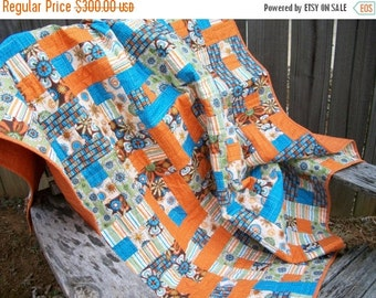 CIJ SALE Throw Lap Quilt Orange Turquoise Green Brown Quilted Patchwork Quiltsy Handmade FREE U.S. Shipping