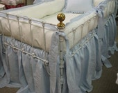 Tailored Crib Bumpers with Sash Ties-Gathered Crib Skirt-Ruffled Crib Pillow-Vintage White and Little Boy Blue