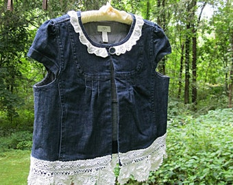 Altered denim jacket, upcycled boho denim jacket, US size Large romantic denim jacket, with lace, French frayed ribbon, Lily Whitepad
