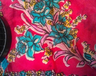 Vintage Silk Scarf Stunning Colors Very Retro Cool
