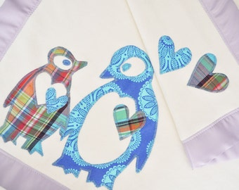 Organic Baby Girl Blanket with Penguins -- Plaid Lavender and Blue