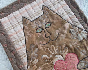 Hearts To You Cat Quilted Wall Hanging/Applique mini quilt