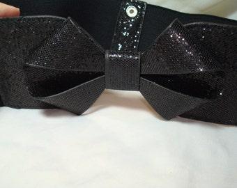 1980s Stretchy wide Black Belt with Shimmering Black Bow.