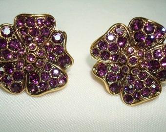 Purple Jeweled Flower Clip On Earrings.