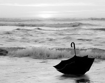 Black and white photography - Dream ocean art - My voyage in an umbrella across the sea- an original signed 8x10 photo
