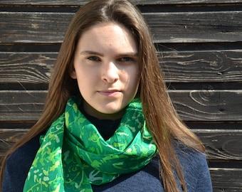 Green batik scarf, fern scarf , hand dyed silk scarf, boho scarf, head scarf