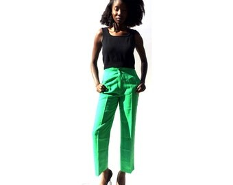 SALE!!!!!!!!! Kelly green high waist high rise tapered trousers 1990s 90s VINTAGE